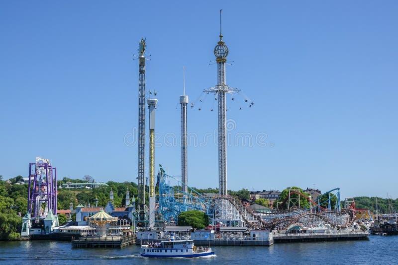 Divertimento/parque temático Grona/Gröna Lund, Suécia imagem de stock royalty free