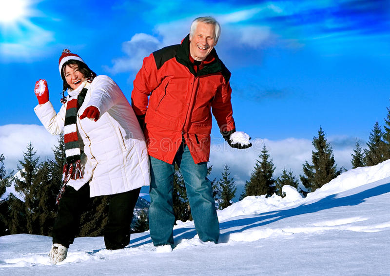 Divertimento sênior 4 do inverno imagens de stock royalty free