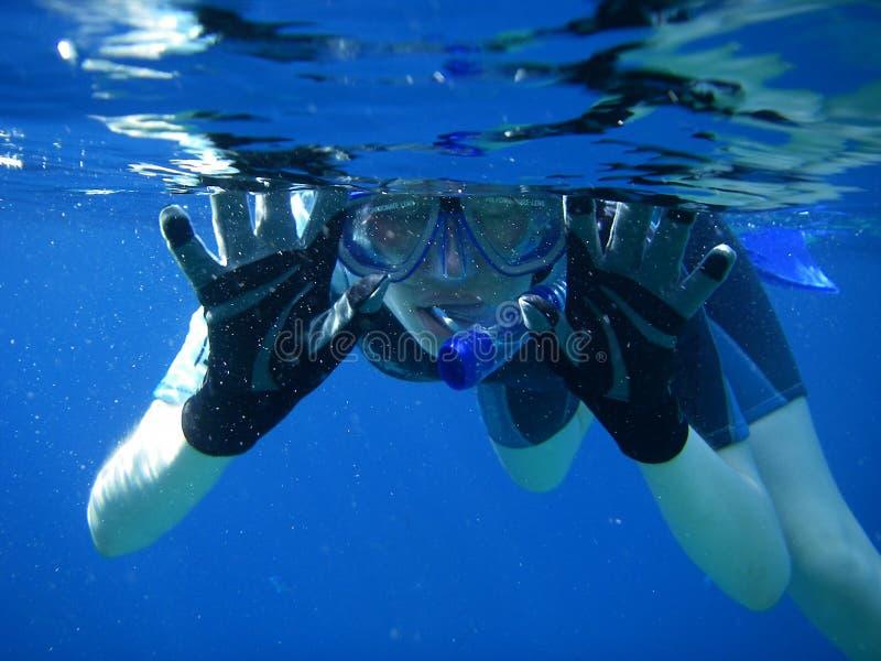 Divertimento subaquático do Snorkel imagens de stock