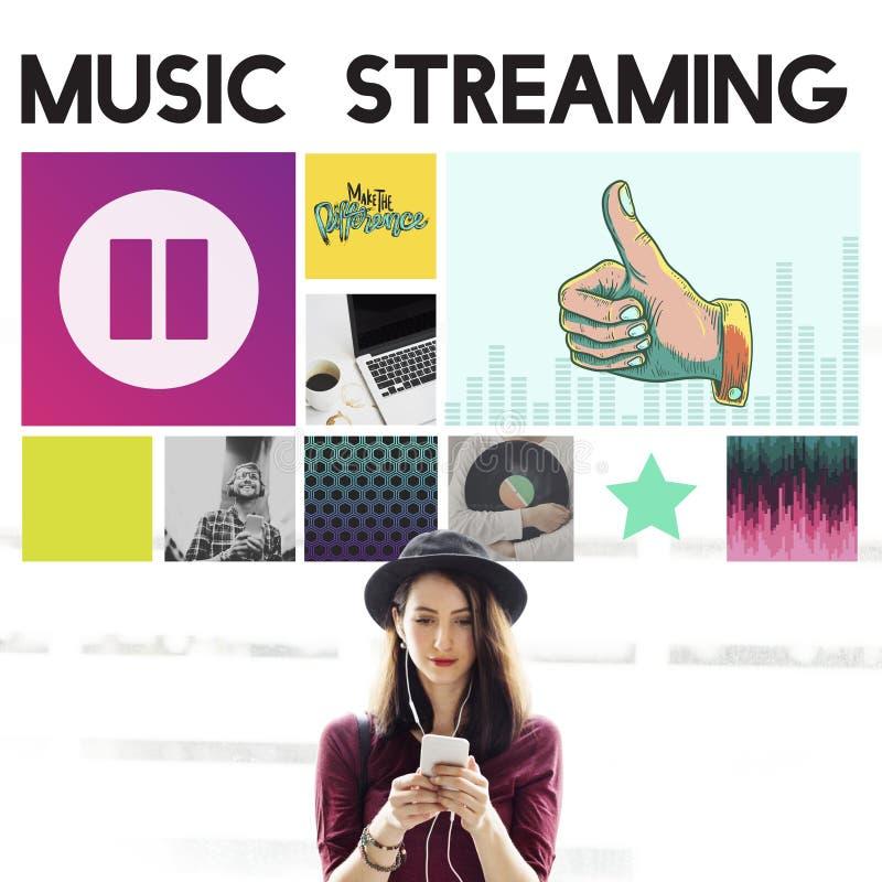 Divertissement audio de Media Player coulant le concept photographie stock libre de droits