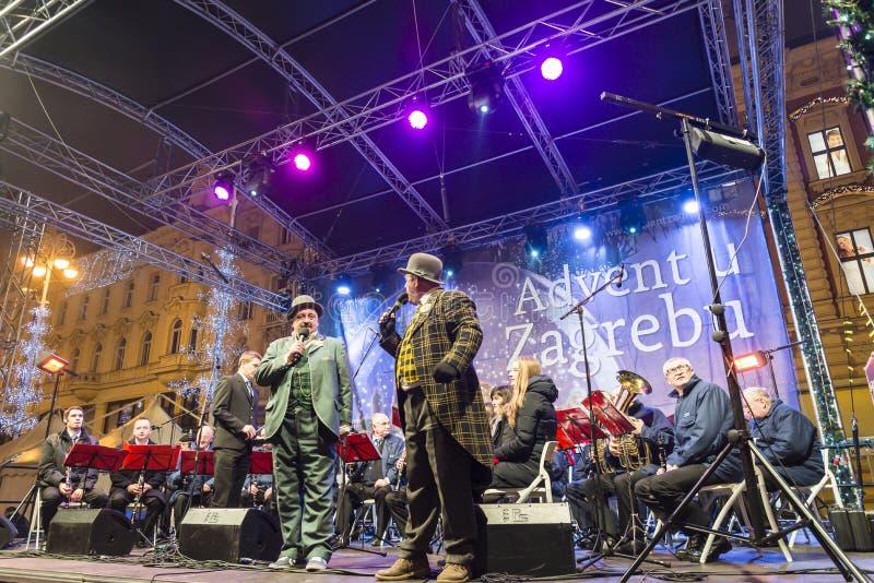 Divertissement de Noël, place de Ban Jelacic, Zagreb, Croatie photographie stock