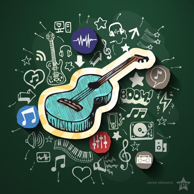 Divertissement et collage de musique avec des icônes dessus illustration stock