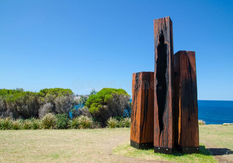 ` Divestments 4 ` is a sculptural artwork by Tony Davis at the Sculpture by the Sea annual events free to the public sculpture. SYDNEY, AUSTRALIA. – On royalty free stock photos