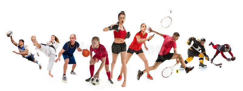 Diviértase el collage sobre kickboxing, fútbol, fútbol americano, baloncesto, hockey sobre hielo, bádminton, el Taekwondo, tenis, imágenes de archivo libres de regalías