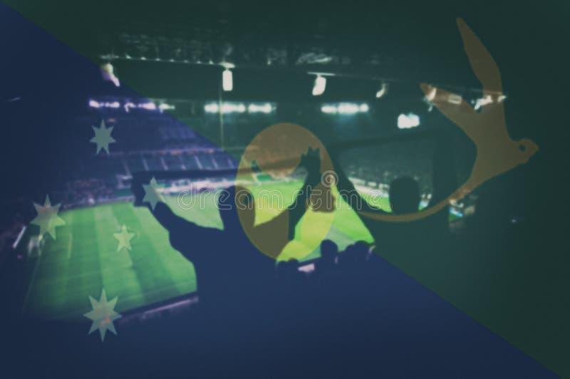 Diviértase el estadio con las fans y la bandera de mezcla de la isla de Christma fotografía de archivo libre de regalías