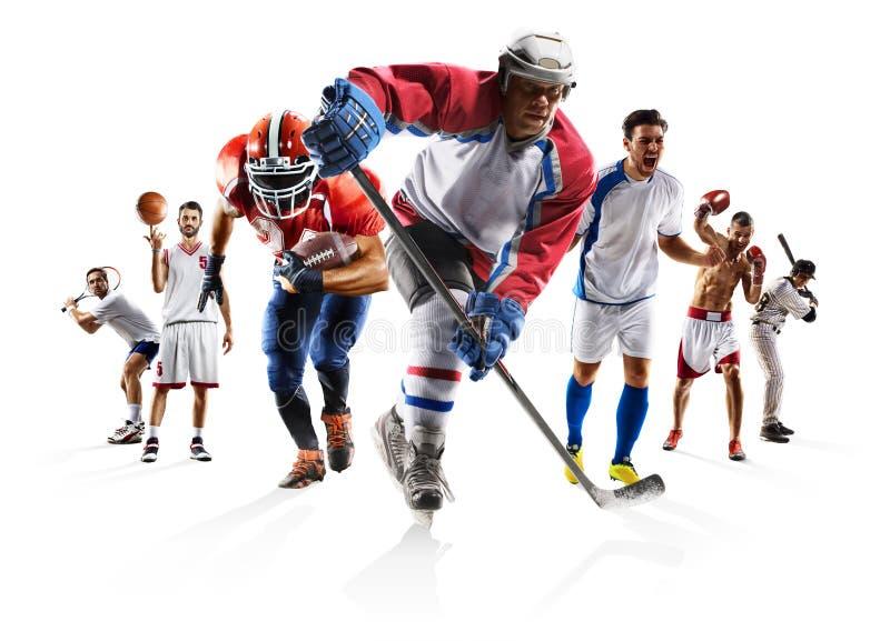 Diviértase el hockey sobre hielo del béisbol del baloncesto del fútbol americano del fútbol del boxeo del collage etc foto de archivo libre de regalías