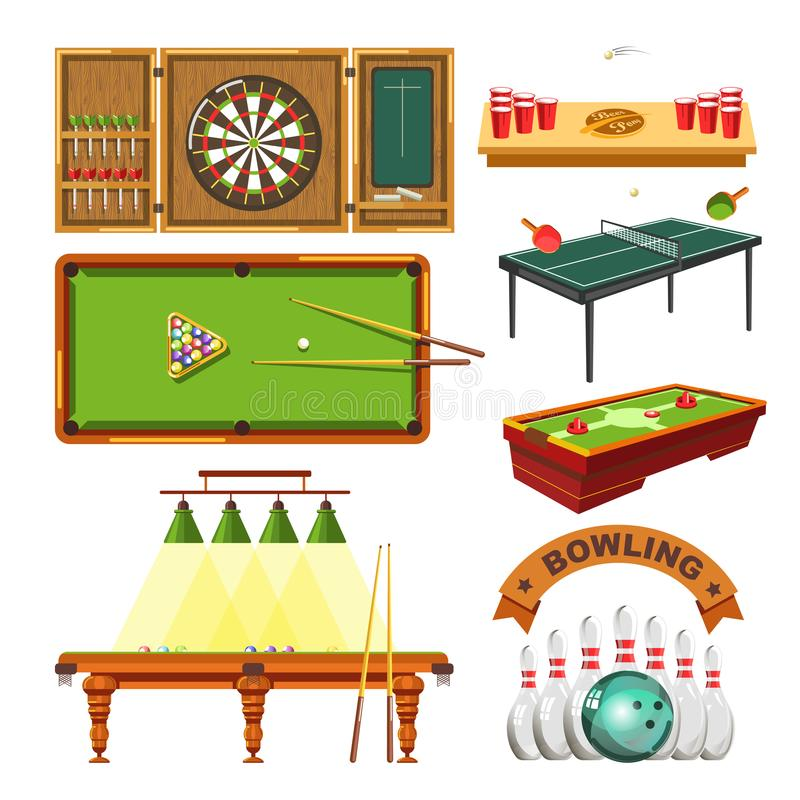 Diviértase el sistema aislado vector de los dardos del juego, de la piscina de los billares, del tenis o de los bolos libre illustration