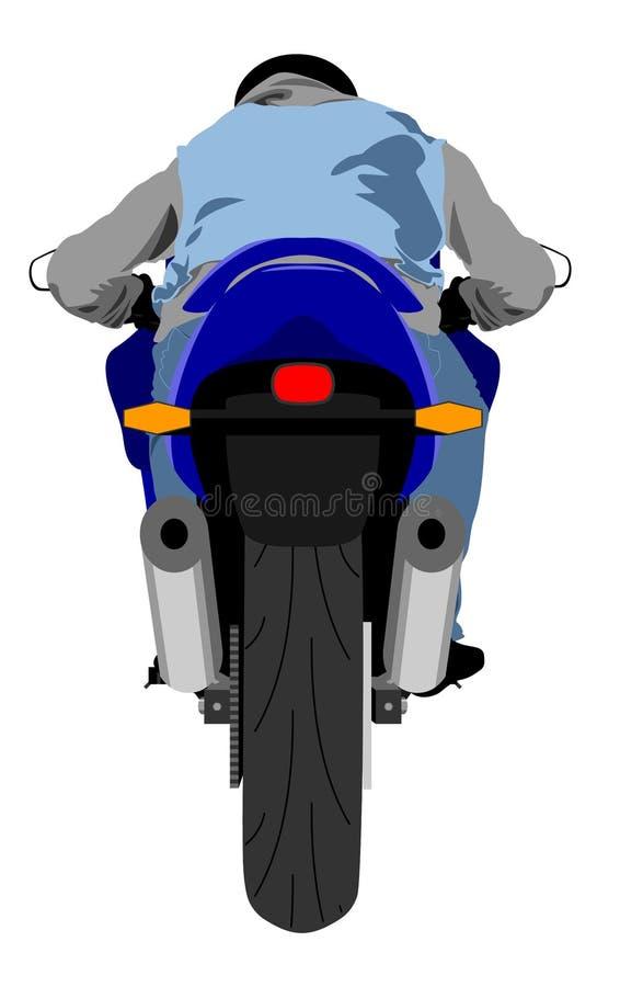 Diviértase la motocicleta con el ejemplo aislado vista posterior del vector del jinete libre illustration