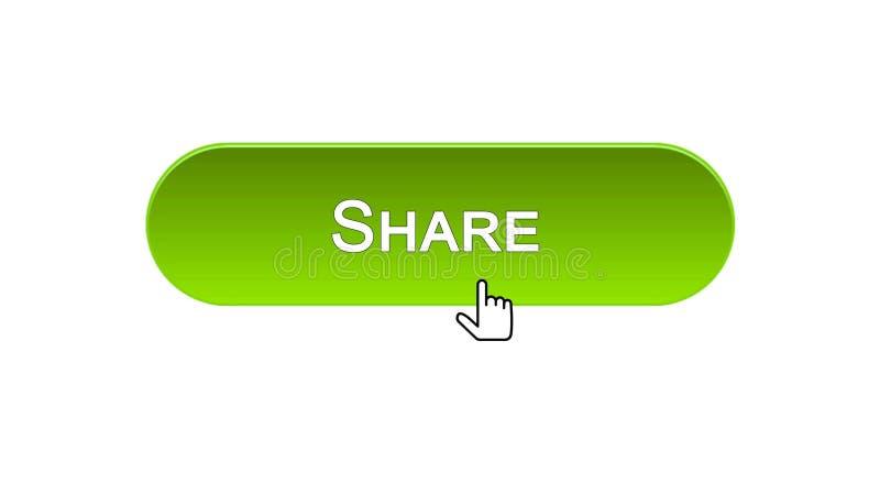 Divida il bottone dell'interfaccia di web cliccato con colore verde del cursore del topo, rete sociale illustrazione di stock