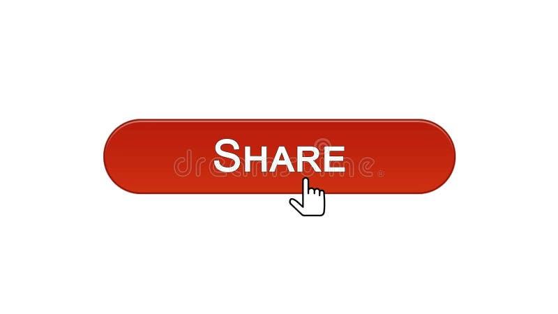 Divida il bottone dell'interfaccia di web cliccato con il cursore del topo, il rosso di vino, rete sociale illustrazione vettoriale