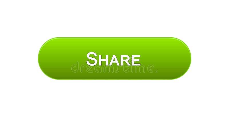 Divida il colore verde del bottone dell'interfaccia di web, la rete sociale, progettazione del sito internet illustrazione di stock