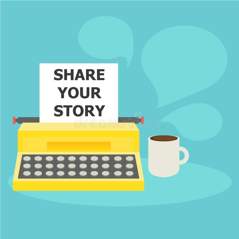 Divida la vostra insegna di storia Una macchina da scrivere con carta e testo e caffè royalty illustrazione gratis