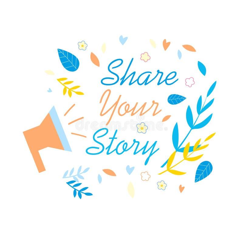 Divida la vostra insegna sociale di promozione di media di storia royalty illustrazione gratis