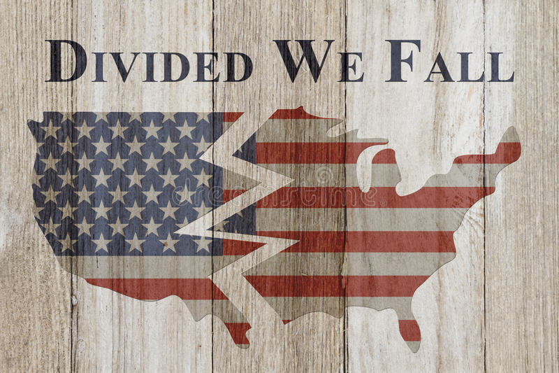Divided we fall message. USA patriotic old flag on a map and weathered wood background with text Divided We Fall stock images