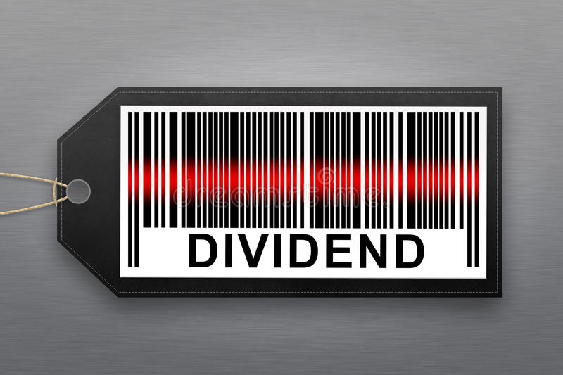 Dividend barcode. With stainless steel background royalty free stock photo