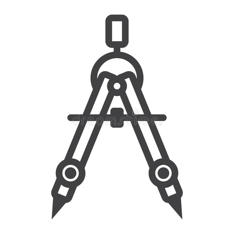 Divider line icon, architect and geometry stock illustration