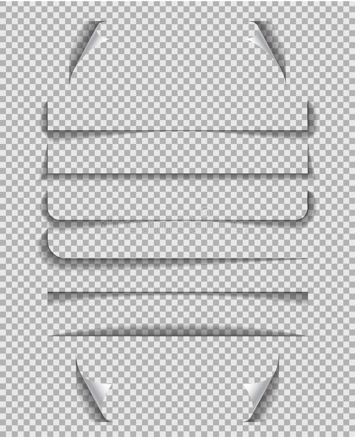Divider shadow line. Frame of edge of paper on transparent background.Paper line with shadow for banner, web tab.Lines shadow. Effect.vector eps10 royalty free illustration
