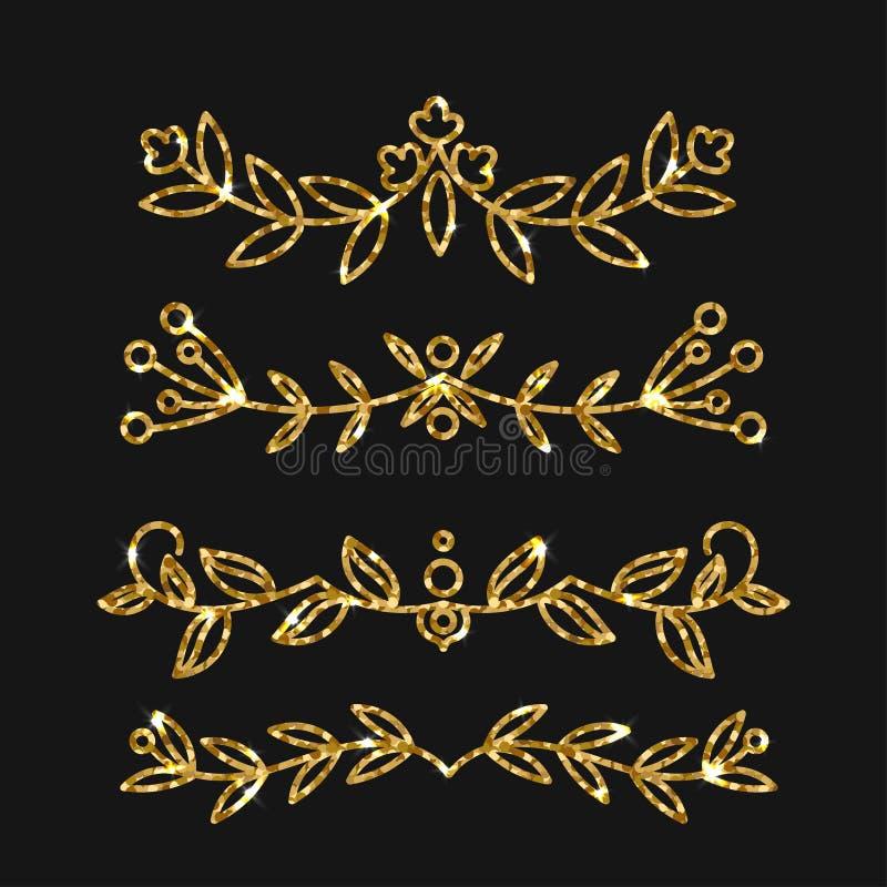 Dividers ustawiający Wektorowy złocisty ozdobny projekt Złoci zawijasy ilustracji