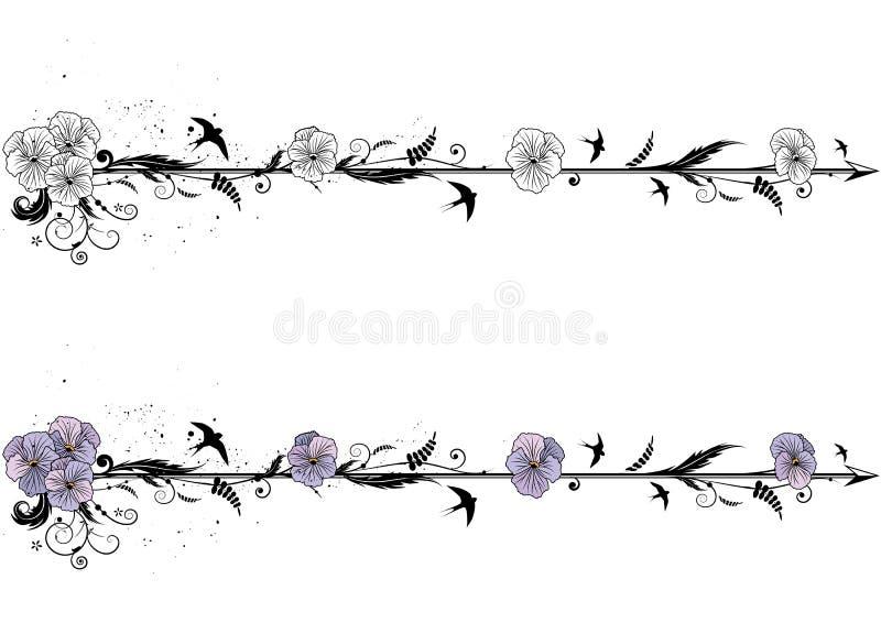 Dividers z kwiatami altówka ilustracja wektor