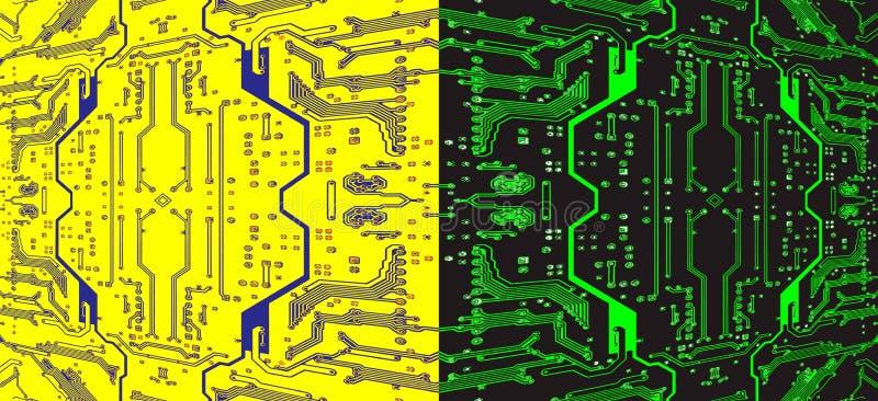 Dividido no meio teste padrão simétrico colorido a da placa de circuito ilustração do vetor