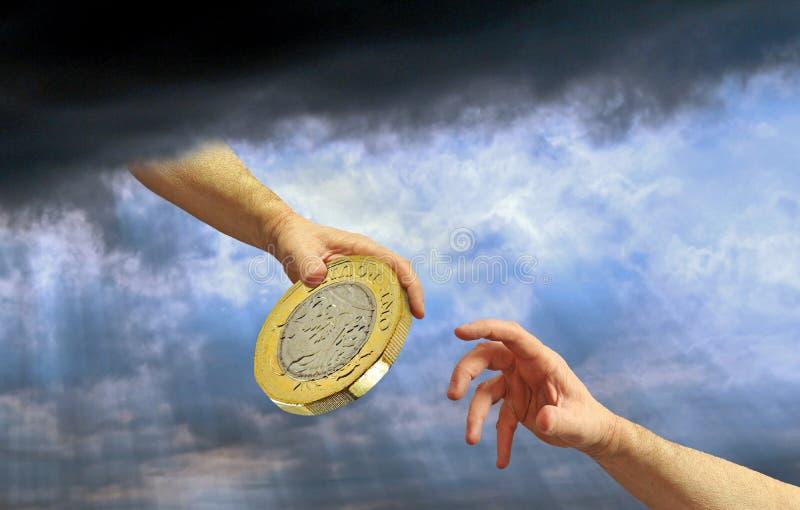 Divina mano dios Dios armar oro libra dinero de moneda beneficencia donativos ayuda ayuda a donar fondos imágenes de archivo libres de regalías