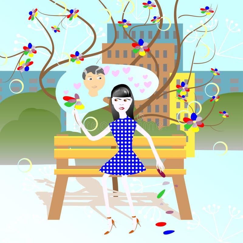 Divination em uma flor ilustração do vetor