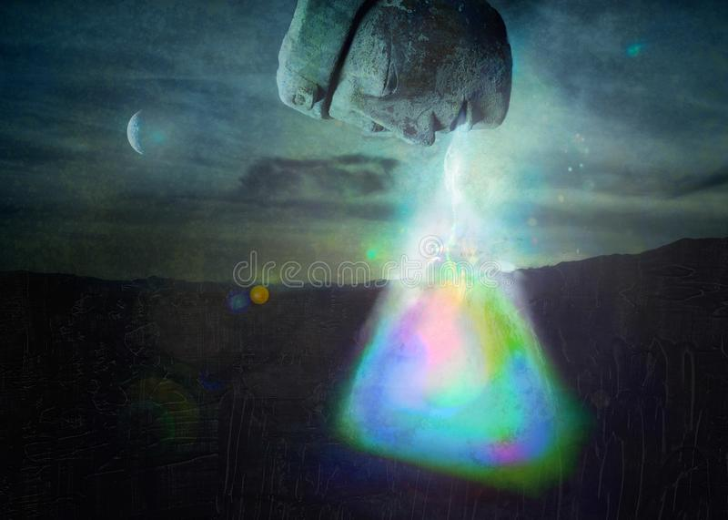 Divine Breathwork Breathing Life Into Existence. Ancient human god face breathing rainbow life force into the void unfolding into existence stock illustration