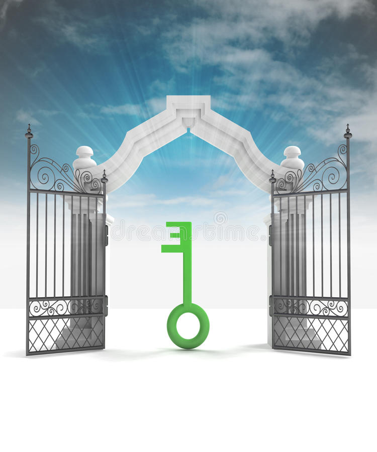 Free Divine Key Way To Heavenly Gate With Sky Flare Royalty Free Stock Photography - 41995437