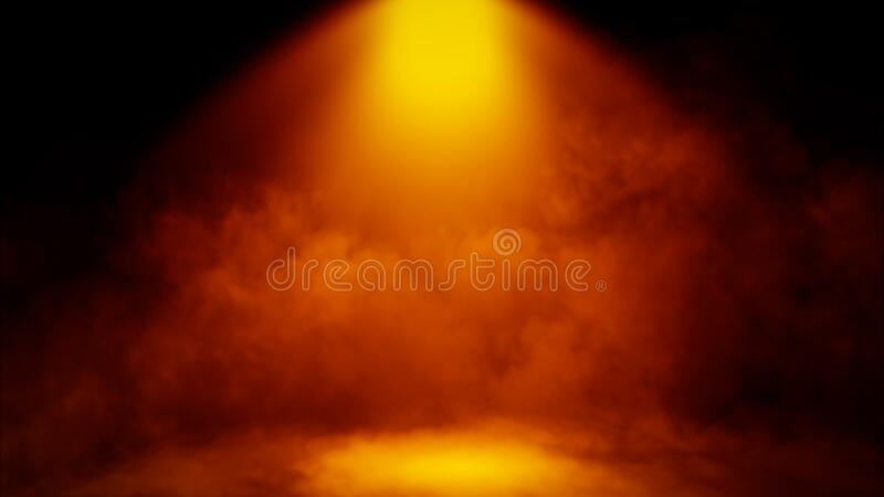 Divine light through a dark fog. The rays beam light on the floor. Spotlight on isolated background. Stock illustration royalty free stock photo