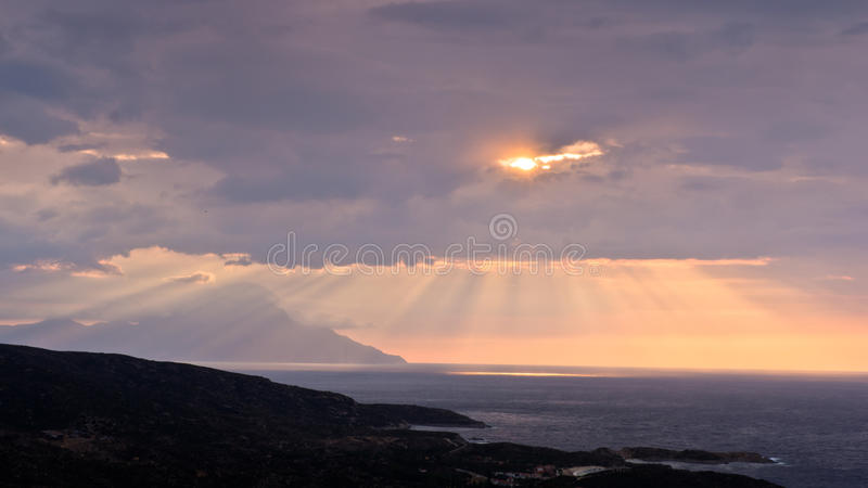 Divine Light, Stormy Sky And Sunrise On A Landscape Around Holy Mountain Athos Royalty Free Stock Photos