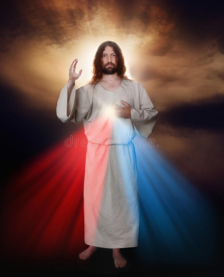 Divine Mercy Image. Of Jesus as depicted by Sister Saint Faustina stock images
