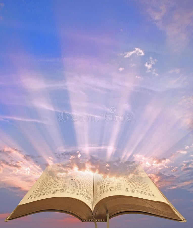 Divine spiritual bible light stock photography