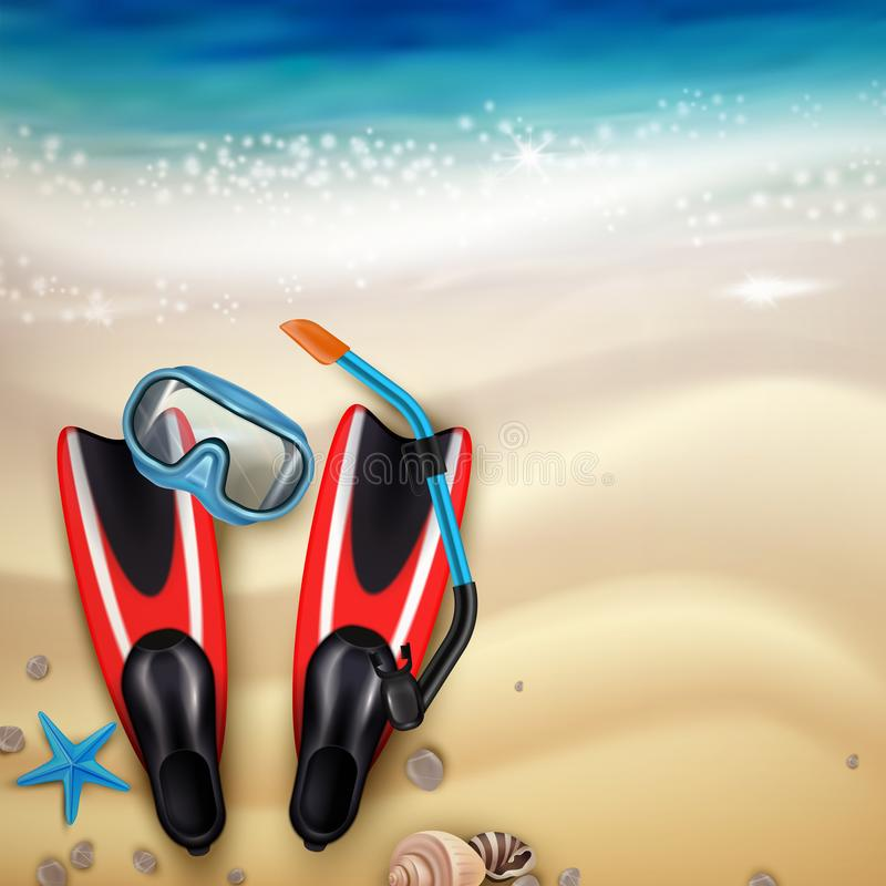 Diving Accessories Realistic stock illustration