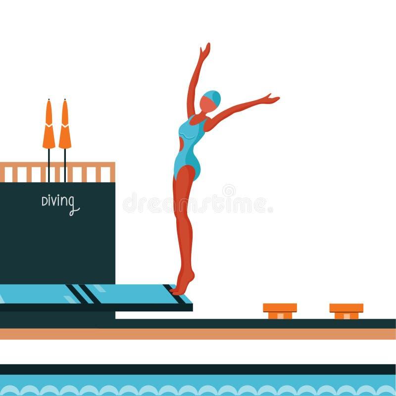 diving Attrezzatura di sport acquatico Gioco di attività dell'atleta in concorrenza fotografia stock libera da diritti