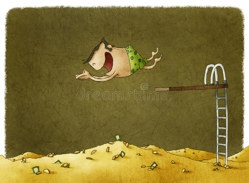 Diving into a big pile of money royalty free illustration