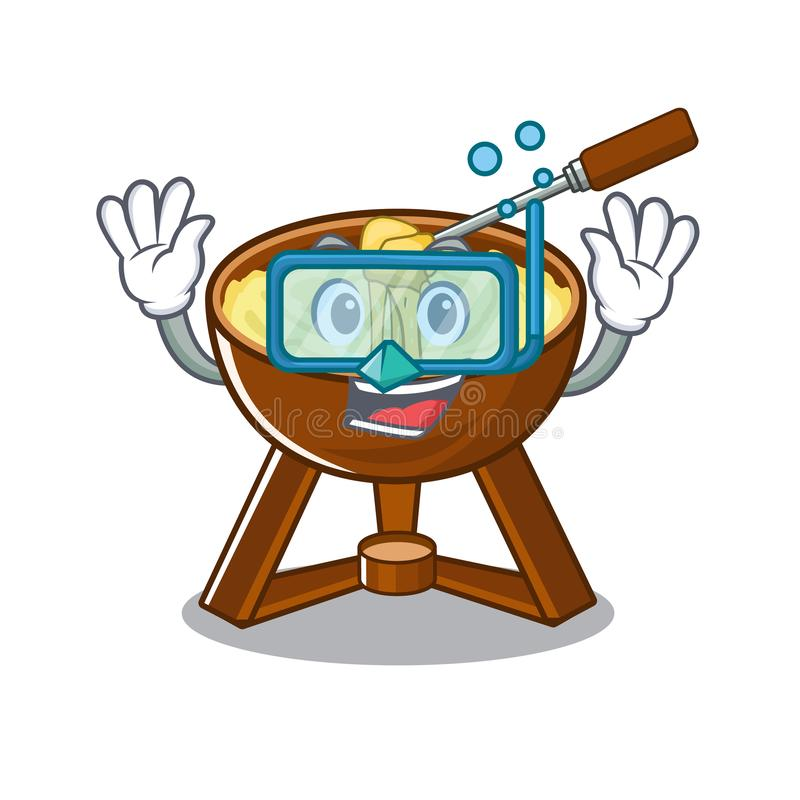 Diving cheese fondue with in mascot shape. Vector illustration stock illustration
