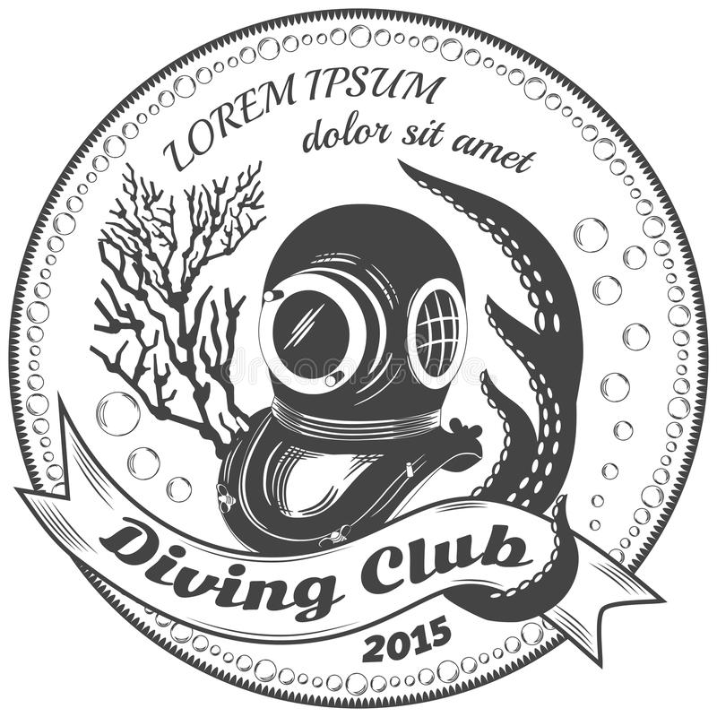 Diving club label stock photo