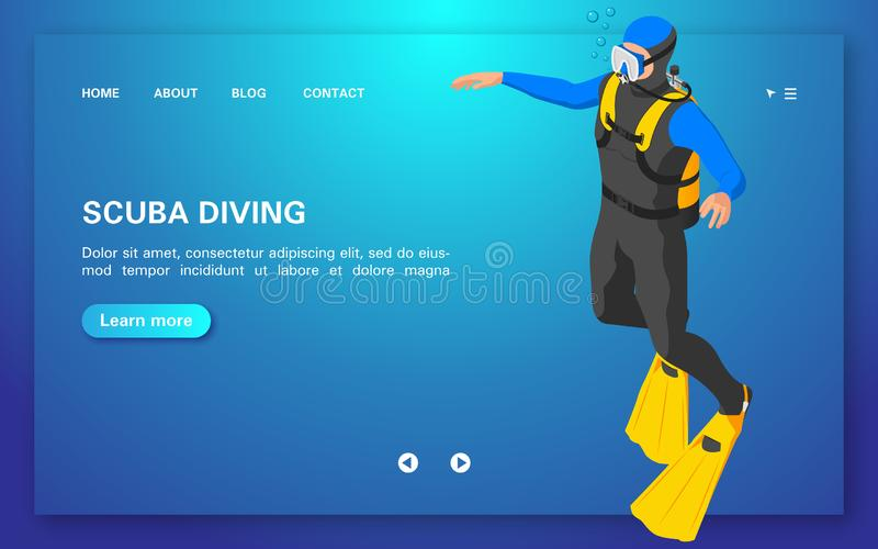 Diving courses. Web banner with a driver on a blue background. royalty free illustration