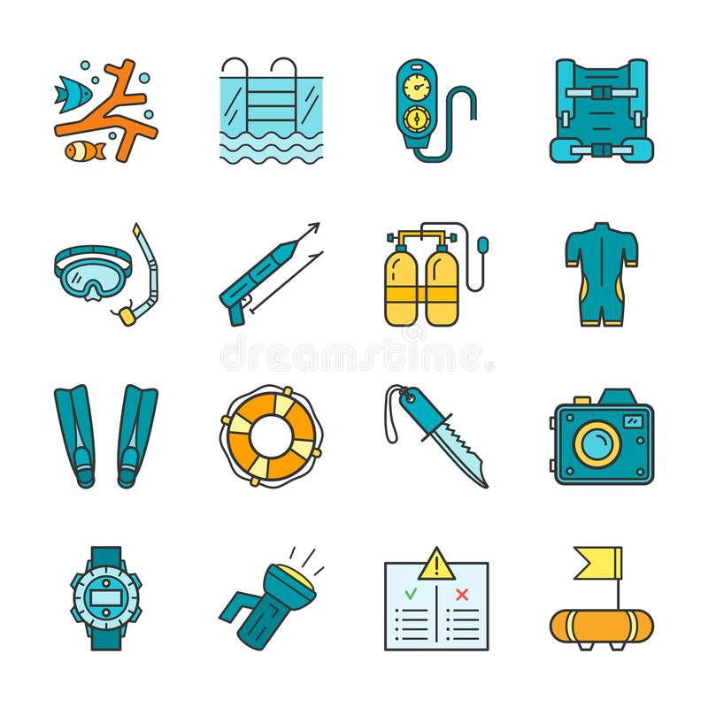 Free Diving Equipment, Accessories And Scuba Gear Flat Thin Line Icon Set Stock Images - 190552904