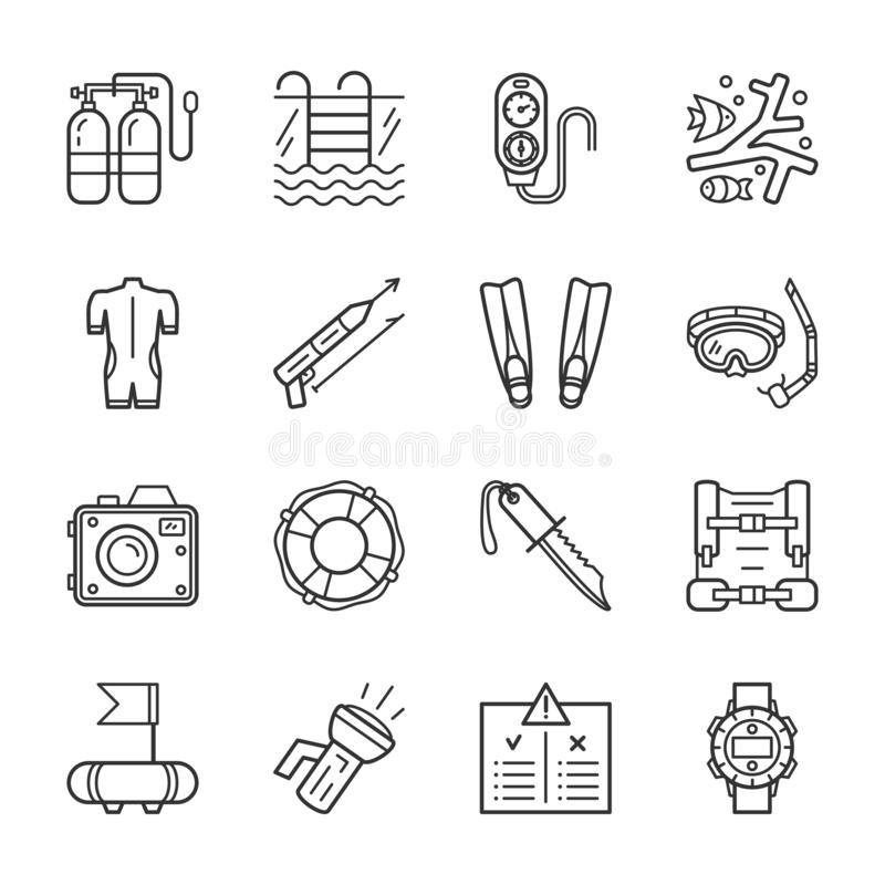 Diving equipment, accessories and scuba gear thin line icons set vector illustration