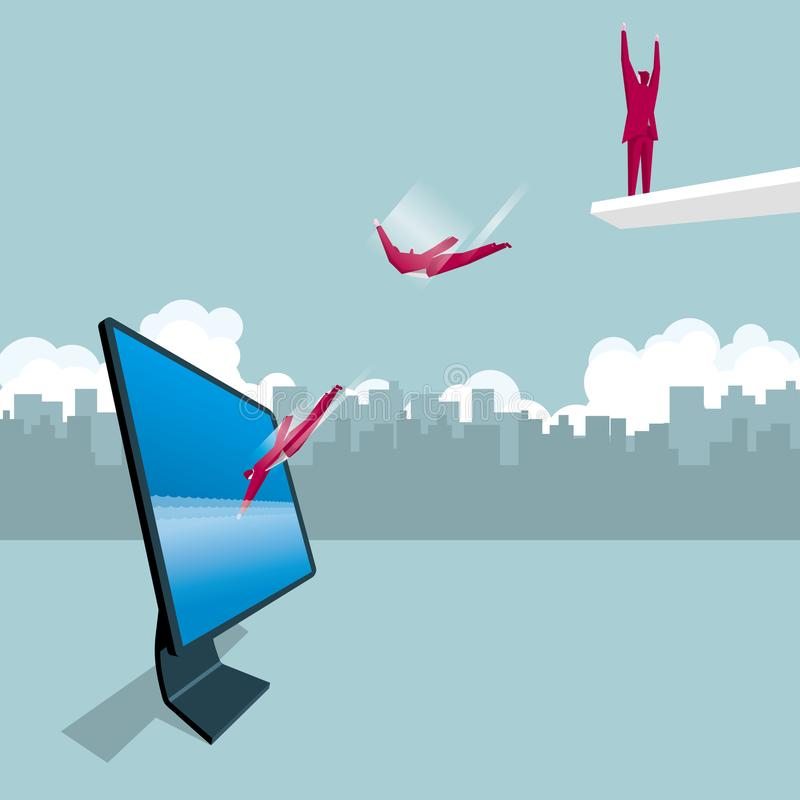 Businessman jumps into the computer. The background is the urban landscape. vector illustration