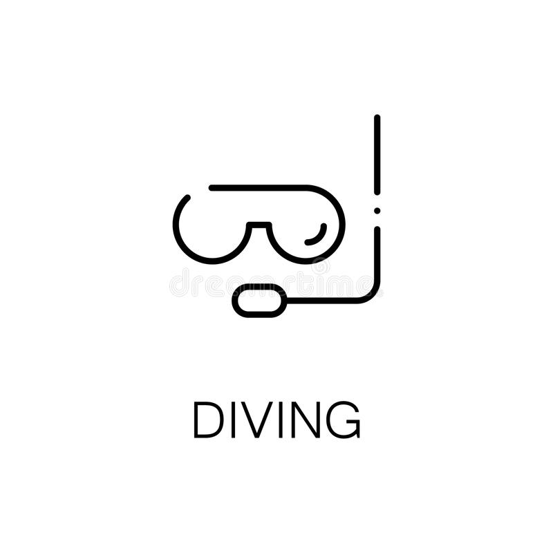 Diving flat icon or logo for web design. stock illustration