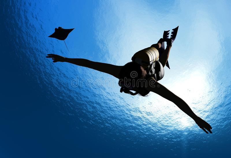 Diving. Girl with a diving under the water on a blue background royalty free illustration