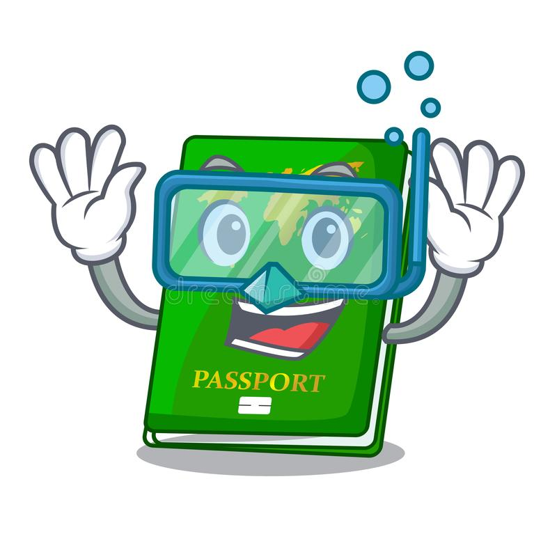 Diving green passport in the cartoon shape. Vector illustration vector illustration