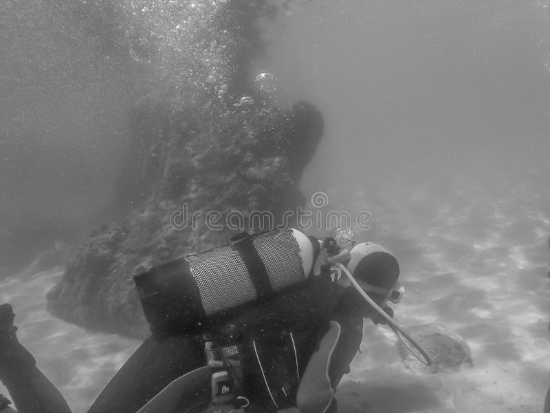 diving in houcima bay royalty free stock images