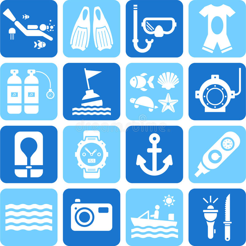 Free Diving Icons Stock Photos - 33450123