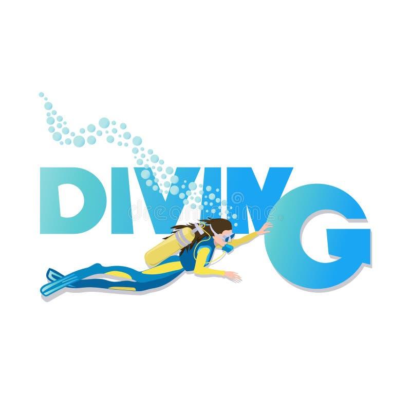 diving Jovem mulher no terno de mergulho e nadar de aletas debaixo d'água com mergulhador ilustração stock