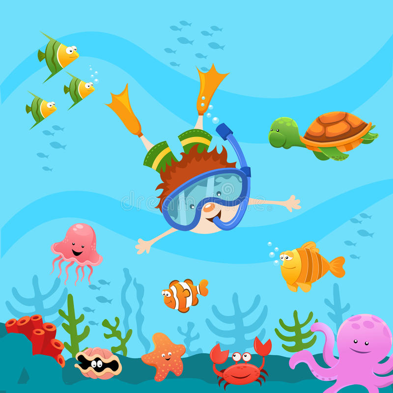 Diving Kid. Cute little kid diving and explore the ocean vector illustration