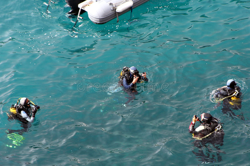 Diving lesson stock photos