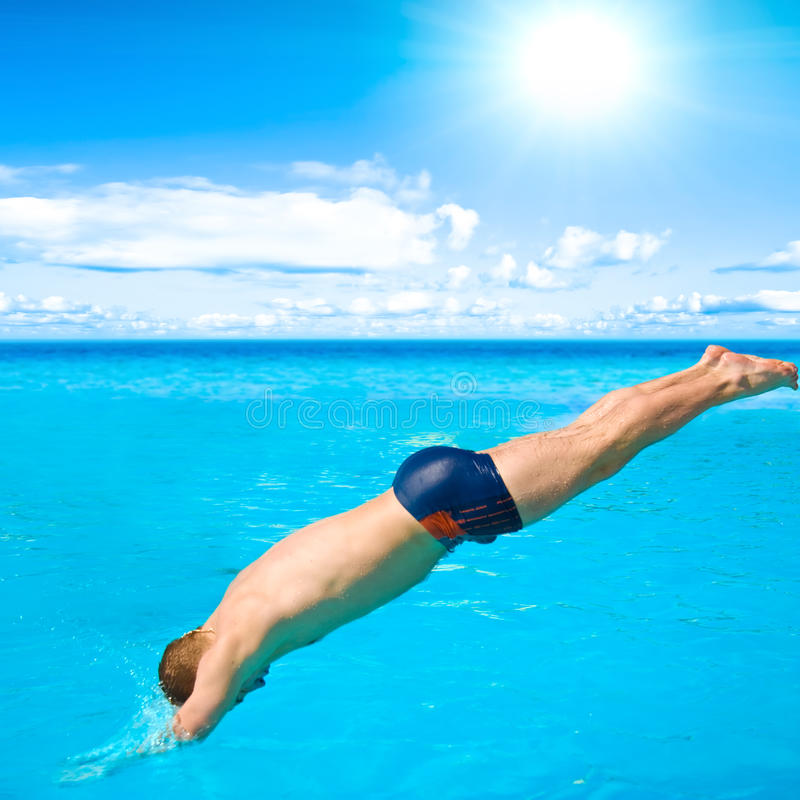 Diving Man Stock Photos
